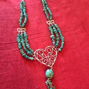 This is a Sweet Silver Heart Turquoise Necklace